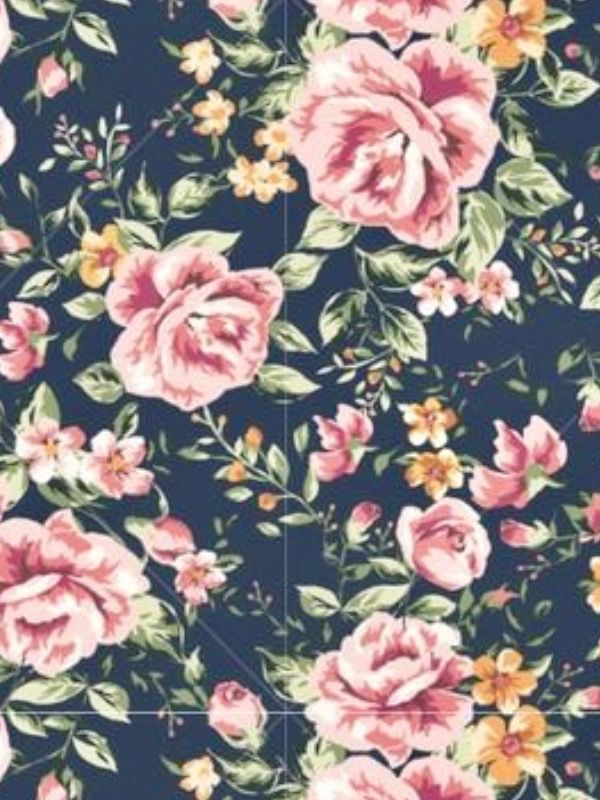 Wallpaper Iphone 5 Vintage Navy Blue And Mauve Pink Floral Print Iphone Background