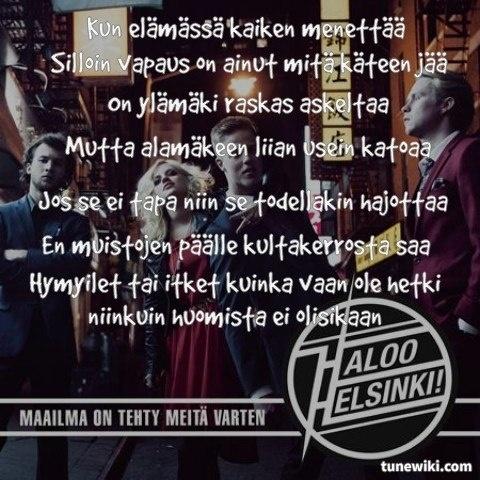 -- #LyricArt for Vapaus käteen jää by Haloo Helsinki!