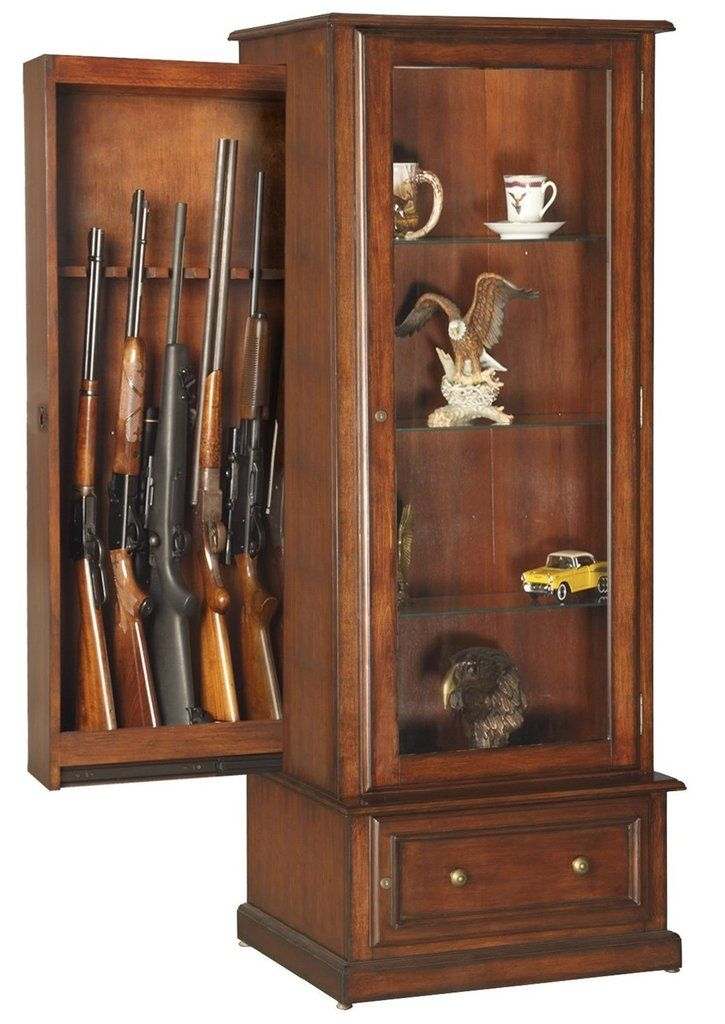 Best 25 gun cabinet plans ideas on pinterest - Beautiful wooden cabinet with glass doors for your storage solution ...
