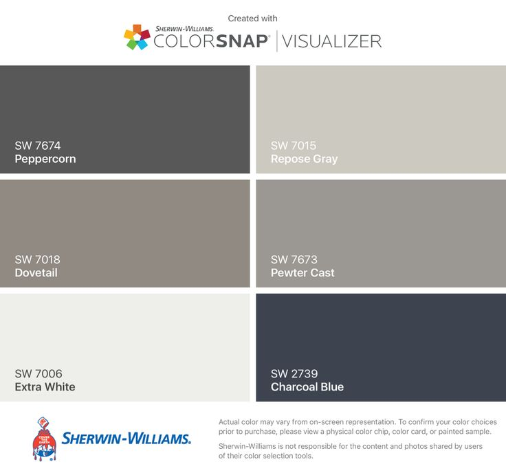 I found these colors with ColorSnap® Visualizer for iPhone by Sherwin-Williams: Peppercorn (SW 7674), Dovetail (SW 7018), Extra White (SW 7006), Repose Gray (SW 7015), Pewter Cast (SW 7673), Charcoal Blue (SW 2739).
