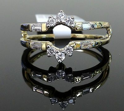 Round and Baguette Diamonds Ring Guard Wrap Solitaire Enhancer 14k YELLOW Gold