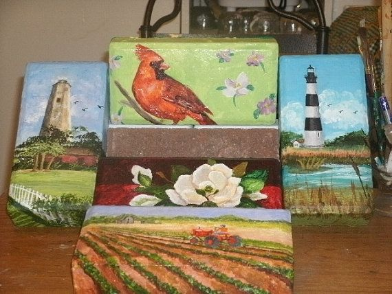 Painted Brick Pavers by ArtistTooStudios on Etsy, $50.00