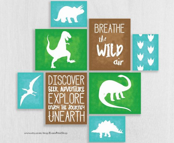 Dinosaur Nursery Art Print Set of 8 - Playroom Decor - Dinosaur Wall Art…