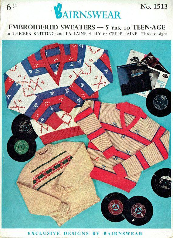 PDF Vintage 1950s Bairnswear 1513  Knitting Pattern Mens