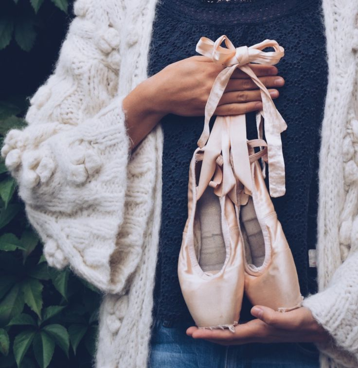 Ballet shoes and a chunky cardigan