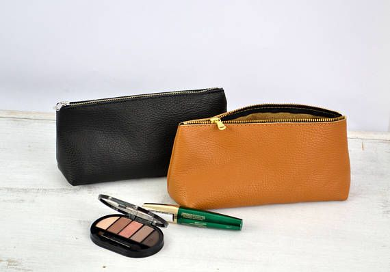 Leather Cosmetic Bag LEATHER POUCH Leather Pouch Bag