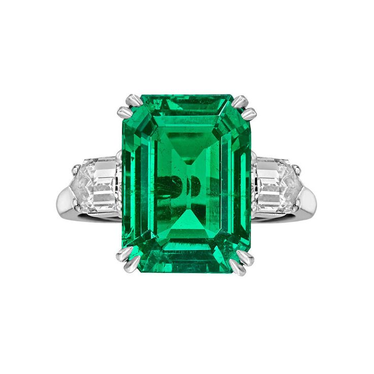 8 Carat ct GIA Emerald Cut Natural Colombian Green Emerald & Diamond Ring 18k #Customjewelry #GemstoneDiamondRing