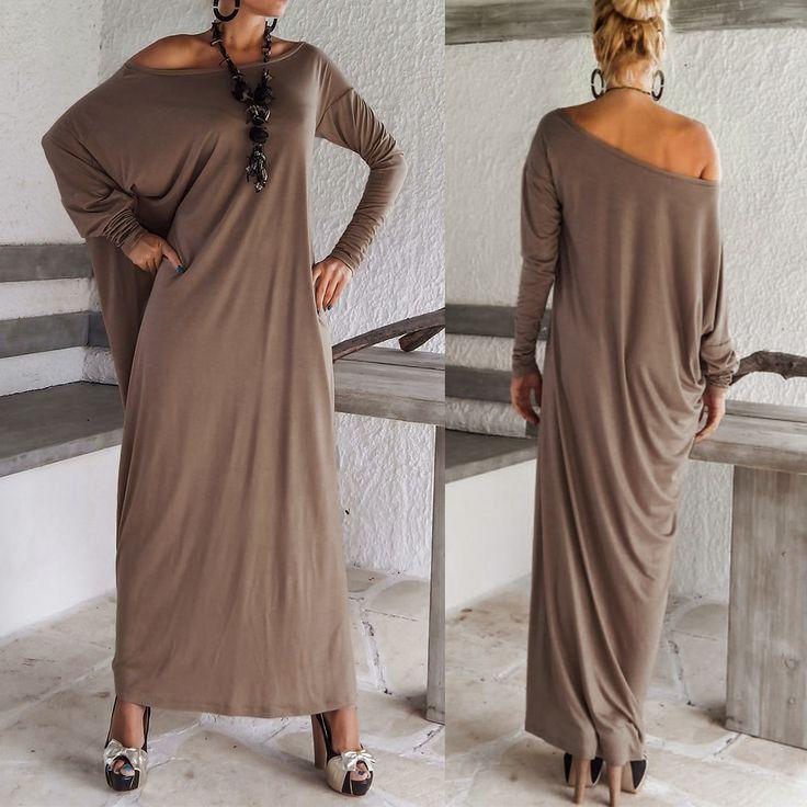 Горячая распродажа тонкой Большой размер женская свободного покроя с длинным рукавом макси платья широкий ну вечеринку большого размера бесплатная доставка Вечернее платье распродажа большой размер длинное платье купить на AliExpress