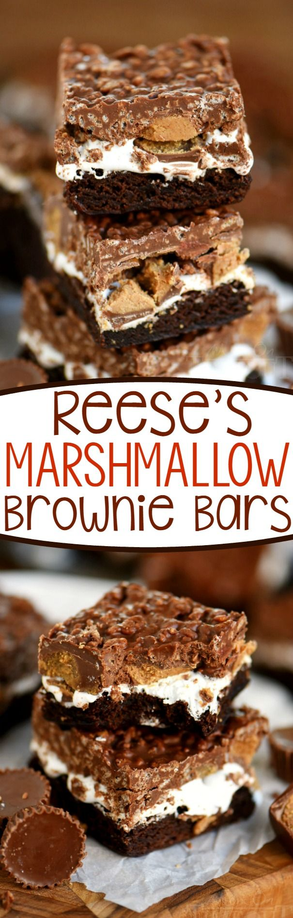 Reese's Marshmallow Brownie Bars are the perfect dessert for a crowd! This easy dessert recipe is impossible to resist - full of sweet chocolate and yummy peanut butter...all you'll need is a glass of milk! // Mom On Timeout