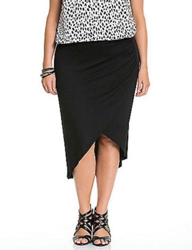 Lane-Bryant-Black-Ruched-Asymmetrical-Tulip-Jersey-Knit-Skirt-Size-14-16-NWOT