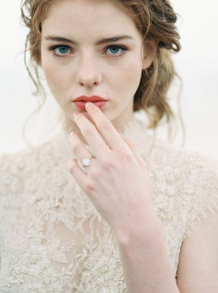 Romantic bridal hair and makeup. #wedding #beauty #lipstain