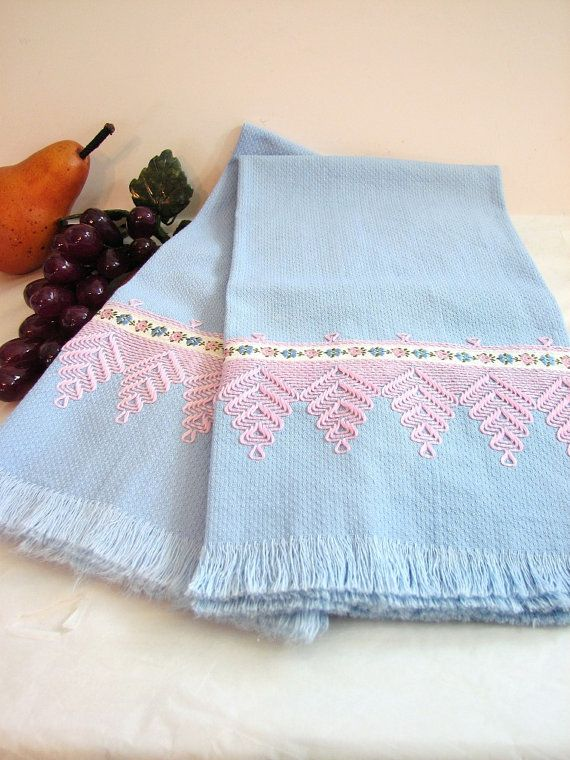 Vintage Retro Blue Cotton Huck Towels, Pair, Set of 2 ... Pink Swedish Weaving or Huck Weaving ... Kitchen Towel, Dish Towel, Hand Towel
