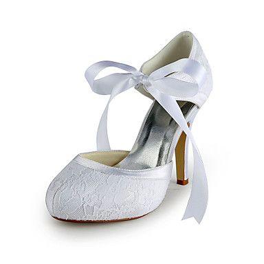 zapatos de las mujeres del dedo del pie redondo tacón de aguja de satén bombea los zapatos de la boda más colores disponibles – USD $ 34.99