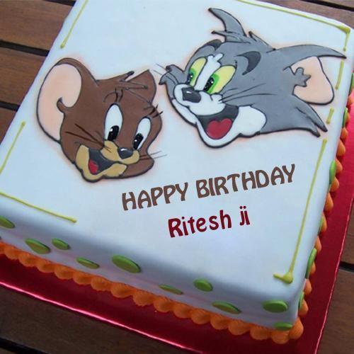 Write Name on Smiley Tom and Jerry Birthday Cake