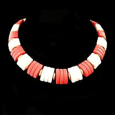 Spectator Necklace Vintage Avon Red White Thermoset Gold Tone Choker Estate V105