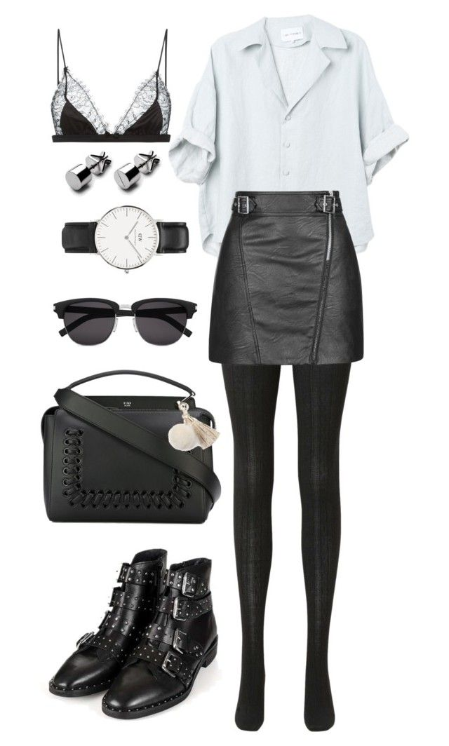 """Untitled #458"" by anaromeromx ❤ liked on Polyvore featuring Uniqlo, Topshop, Fendi, Juicy Couture, Yves Saint Laurent, Daniel Wellington and Maison Close"