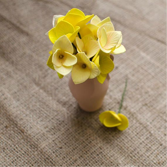 Yellow Foam Flowers 6 pcs Mixed Flower Jewelery making