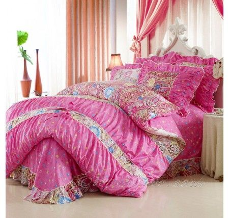 Pink Paisely Girls Princess Ruffle Lace Bedding Girls