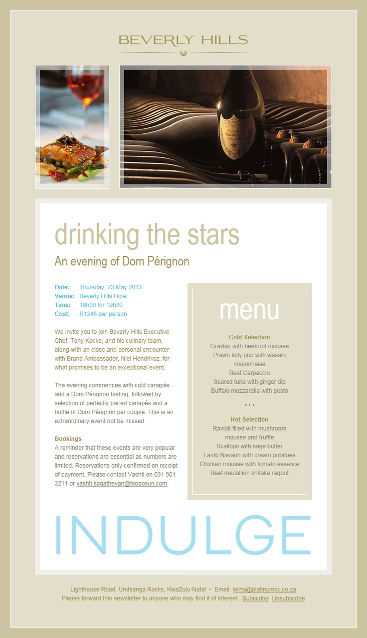 Drinking the stars, an evening with Dom Perignon Champagne at Beverly Hills Hotel, Uhmlanga