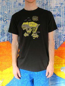 SassiCapra X LaPok Collaboration 100% Australian made, certified organic cotton unisex T-shirt. Hand screen printed in Melbourne at SassiCapra's studio.  HAPPY DAYS! Available: http://sassicapra.bigcartel.com/product/wombat-t-shirt-black