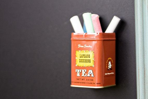 Vintage Tea Tin Magnetic Chalk Holder