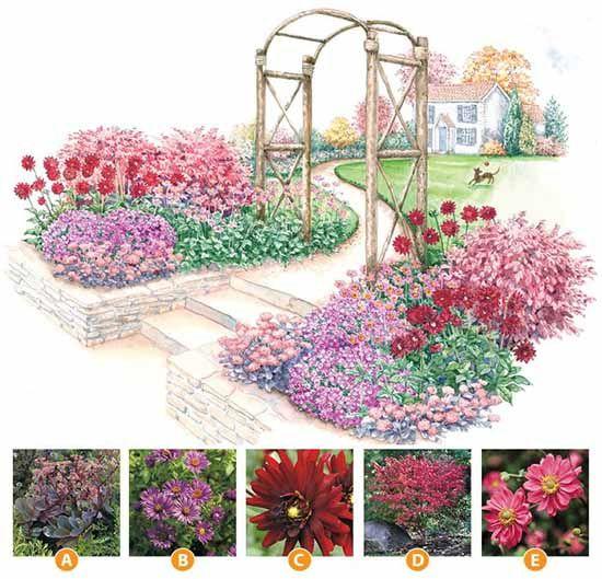 красивый цветник у садовой арки схема