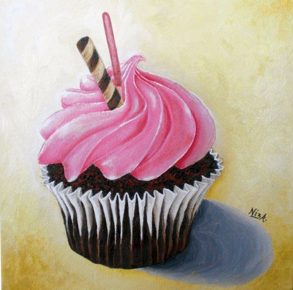 Cupcake Oil Painting 8 x 8 inches by NizasArt by NizasArt on Etsy