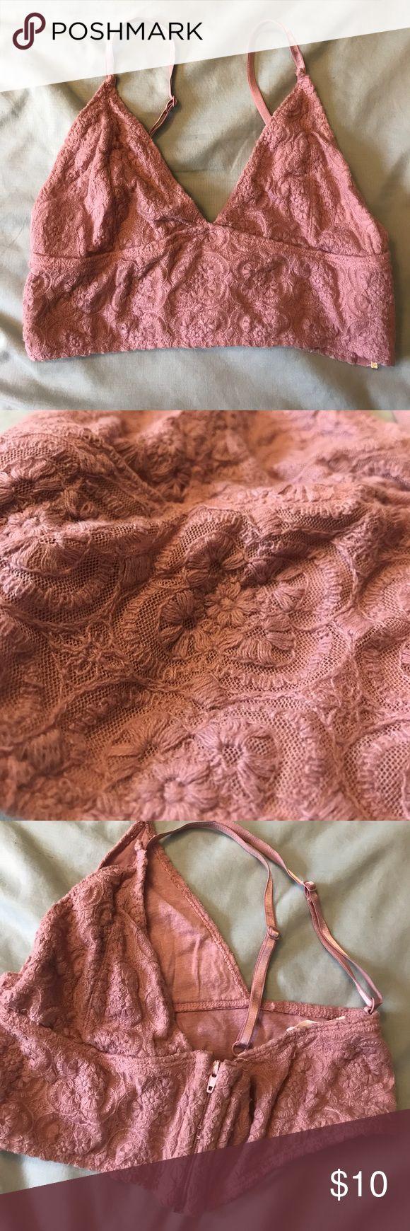 Blush pink Pins and Needles bralette Blush pink embroidered bralette, size medium. Zipper on the side for easy wear, adjustable straps, wide supportive band. Pins and Needles brand Pins & Needles Intimates & Sleepwear Bras