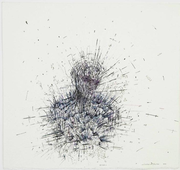 Noise V  2012  Fine liner, ink and charcoal   50 x 50 cm