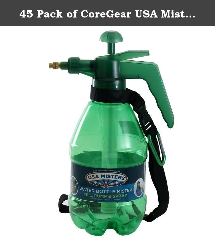 45 Pack of CoreGear USA Misters 1.5 Liter Personal Water Mister Pump Spray Bottle (Green). 45 Pack of CoreGear | USA MISTERS | 1.5 Liter Pump Mister & Sprayer Bottle BUY 45 AND SAVE! Designed to keep you refreshed anywhere you need a cool down, the COREGEAR USA Misters 1.5 Liter Personal Pump Mister Bottle is portable, lightweight, and easy to use. It sprays a fine mist that actually lowers the air temperature by as much as 30 degrees, keeping you refreshed even in sweltering heat. The…