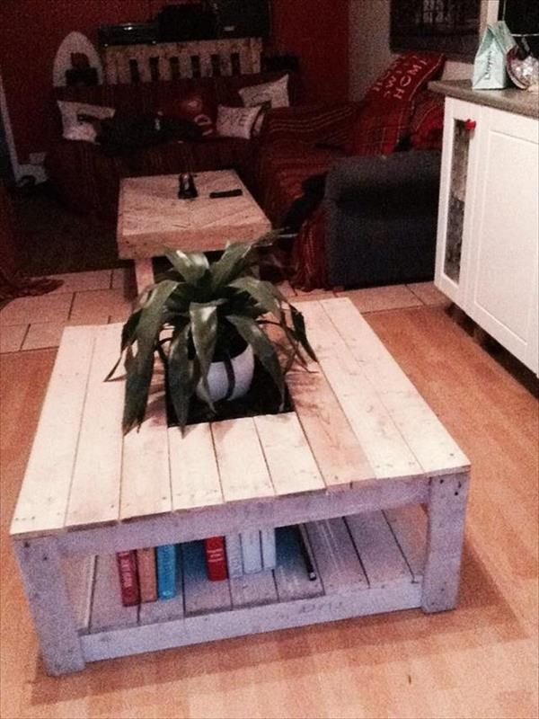 15 DIY Pallet Coffee Table with Storage for Books | Pallets Designs