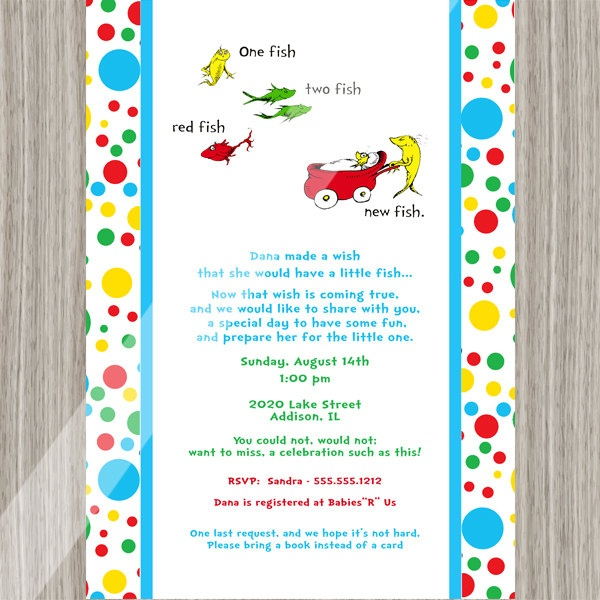 baby shower invitations dr seuss one fish two fish baby shower