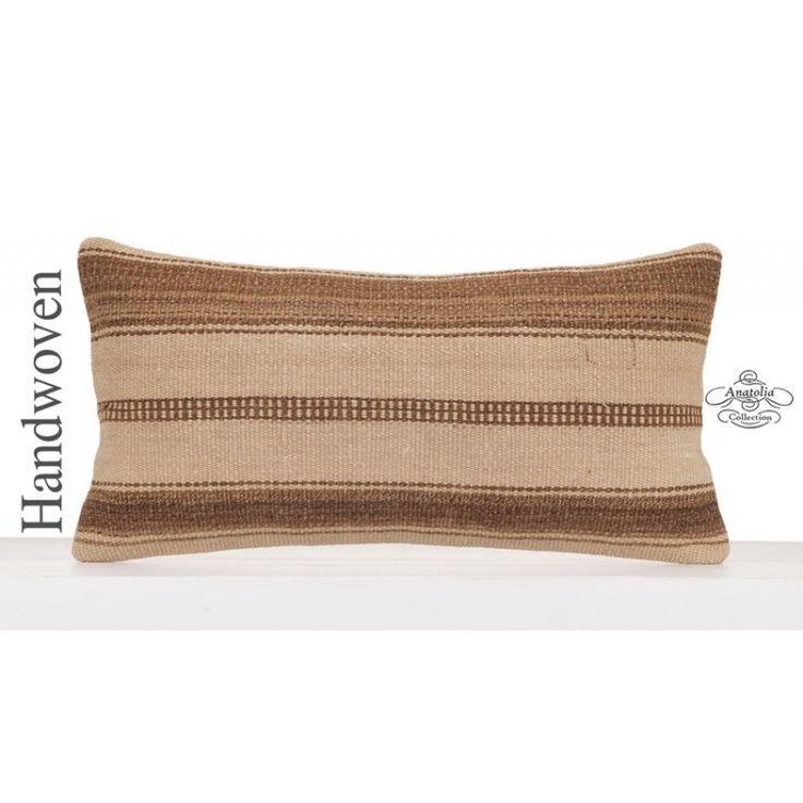 "Vintage Natural Kilim Pillow Old Hand Woven Turkish Decorative Cushion 12x24"" Lumbar Ethnic Kelim Rug Pillowcase Tribal Earthy Sofa Couch Throw"