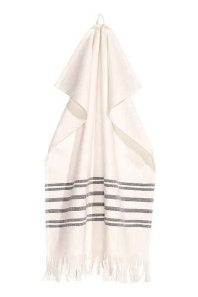 Ręcznik w paski - Naturalna biel - HOME | H&M PL 1