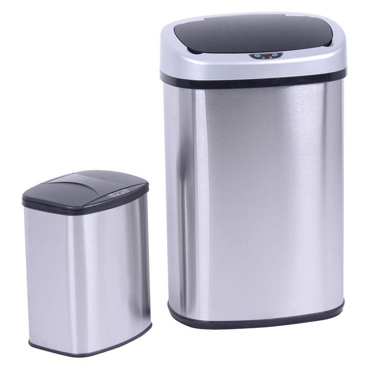 Set of 2 Touch-Free Motion Sensor Bin Trash Can 13 & 2.3 Gallon Stainless Steel | Home & Garden, Household Supplies & Cleaning, Trash Cans & Wastebaskets | eBay!