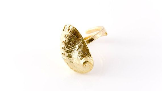 Abalone Sea Shell Rin Beach Jewelry Gold by AnVhandmadecreations