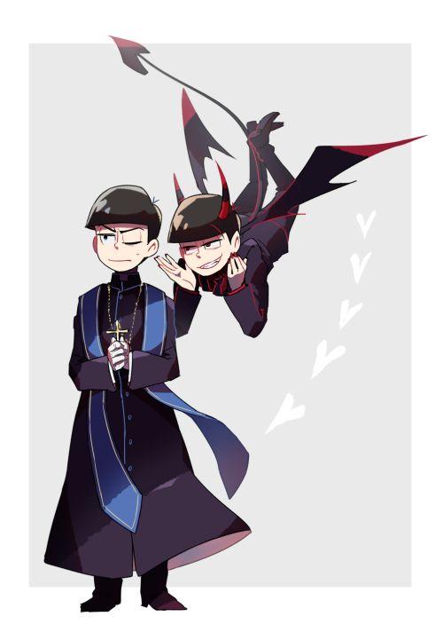 Priest!Karamatsu and Demon!Osomatsu ||| Osomatsu-san Fan Art by adddddo on Tumblr