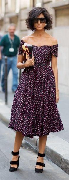 Pretty, Plum dotted dress.