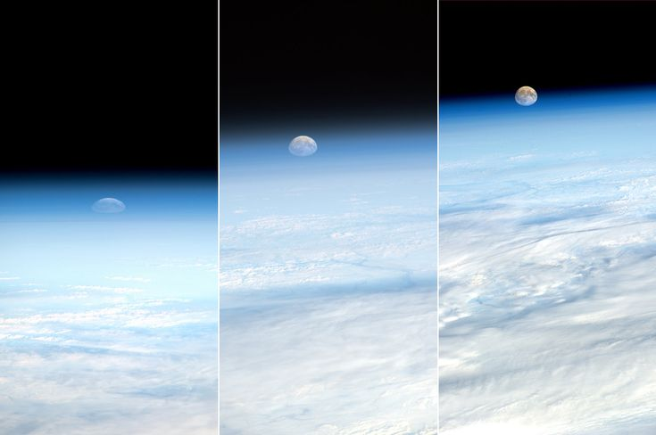 Image by Paolo Nespoli, courtesy of NASA and the ESA.  Moonrise from the ISS. Look how small we are.