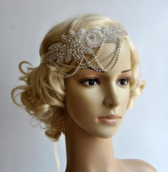 Glamour Rhinestone flapper Gatsby Headband, Chain 1920s Wedding Crystal Headband Headpiece, Bridal Headpiece, 1920s Flapper headband