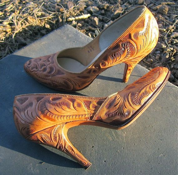1950s Tooled Leather Heels from American Gypsy Vintage on Etsy #vintage #shoes