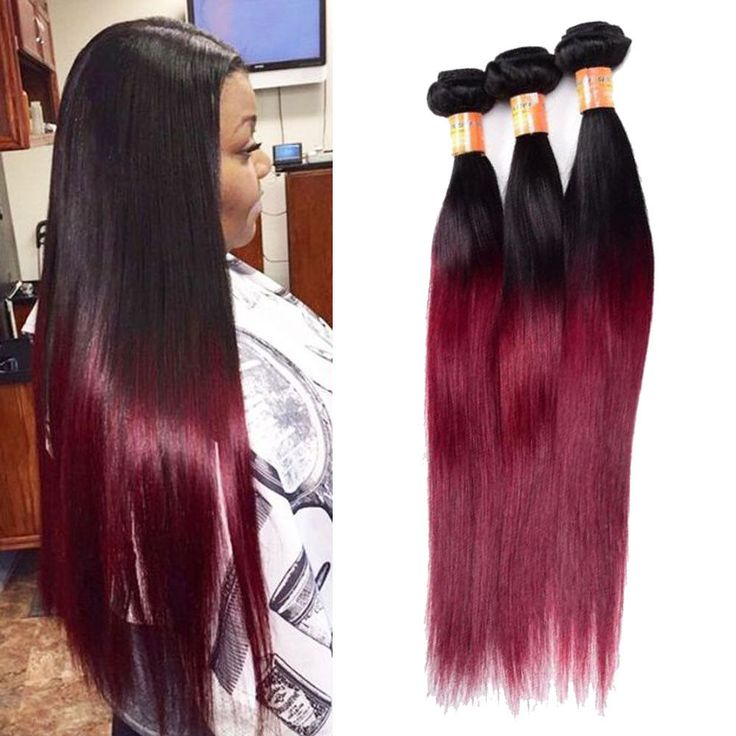 "3Bundles 18"" 300g Real Human Hair Extension 1b/99j Straight Hair Weft #Unbranded #StraightBundle"