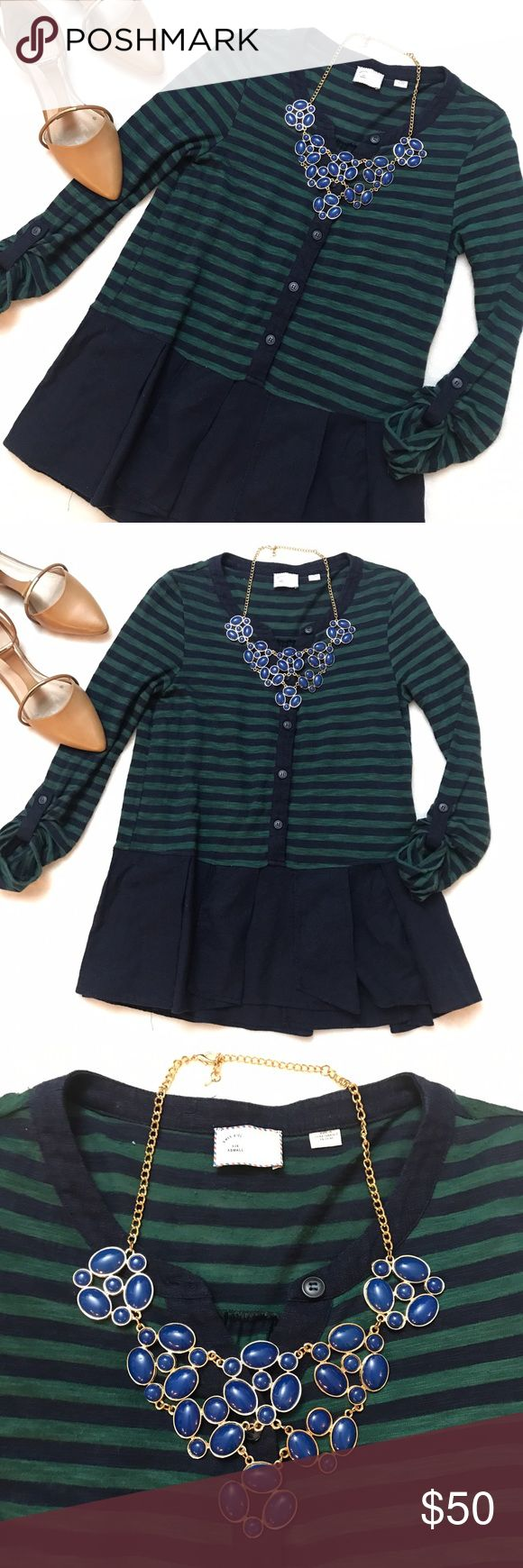 """ANTHROPOLOGIE Green Blue Striped Peplum Henley Top ANTHROPOLOGIE Green Blue Striped Peplum Henley Top by Postmark, size XS. Henley button front, roll tab sleeves, linen Pleated peplum trim. So cute! Bust measures 31"""" and length is 25.5"""". Cotton/polyester/linen/rayon. Anthropologie Tops Blouses"""