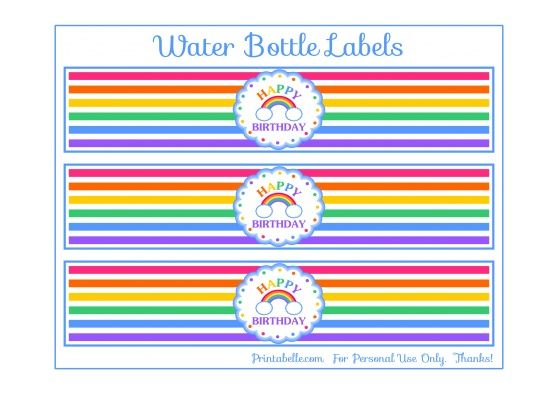 Free Printable Rainbow Water Bottle Labels