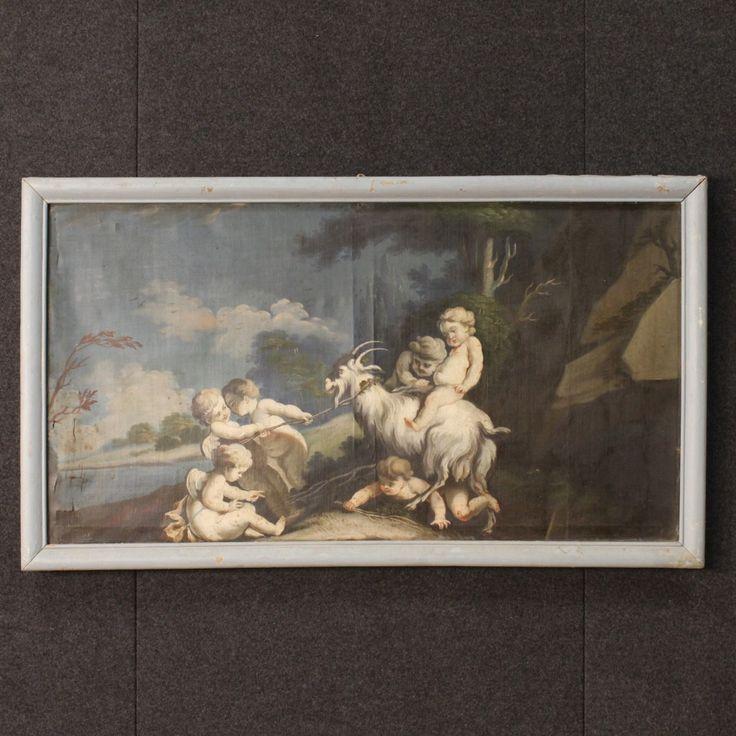 """2800€ Antique Italian painting """"Game of little angels"""" of the 18th century. Visit our website www.parino.it #antiques #antiquariato #painting #art #antiquities #antiquario #canvas #oiloncanvas #landscape #quadro #dipinto #arte #tela #decorative #interiordesign #homedecoration #antiqueshop #antiquestore"""