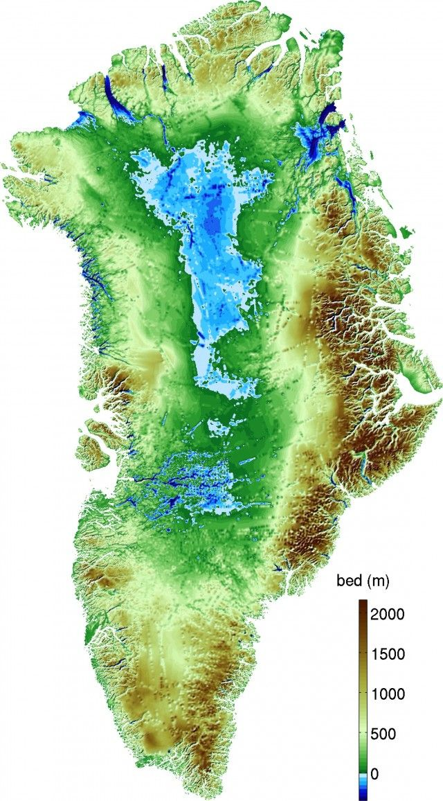 The new map of Greenland's topography. The straight lines visible in the interior of the continent are artifacts from aerial surveys that measured ice depth. Blue areas are below sea level #greenland #map