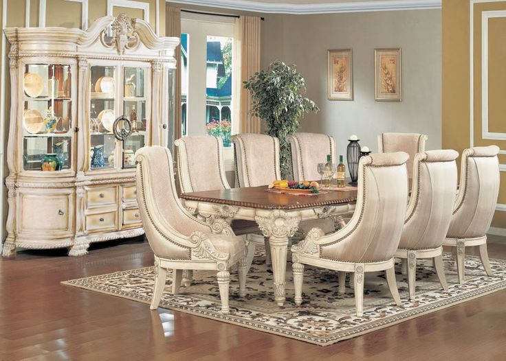 Luxury Antique White 11 Piece Formal Dining Room Furniture Set W China Cabinet