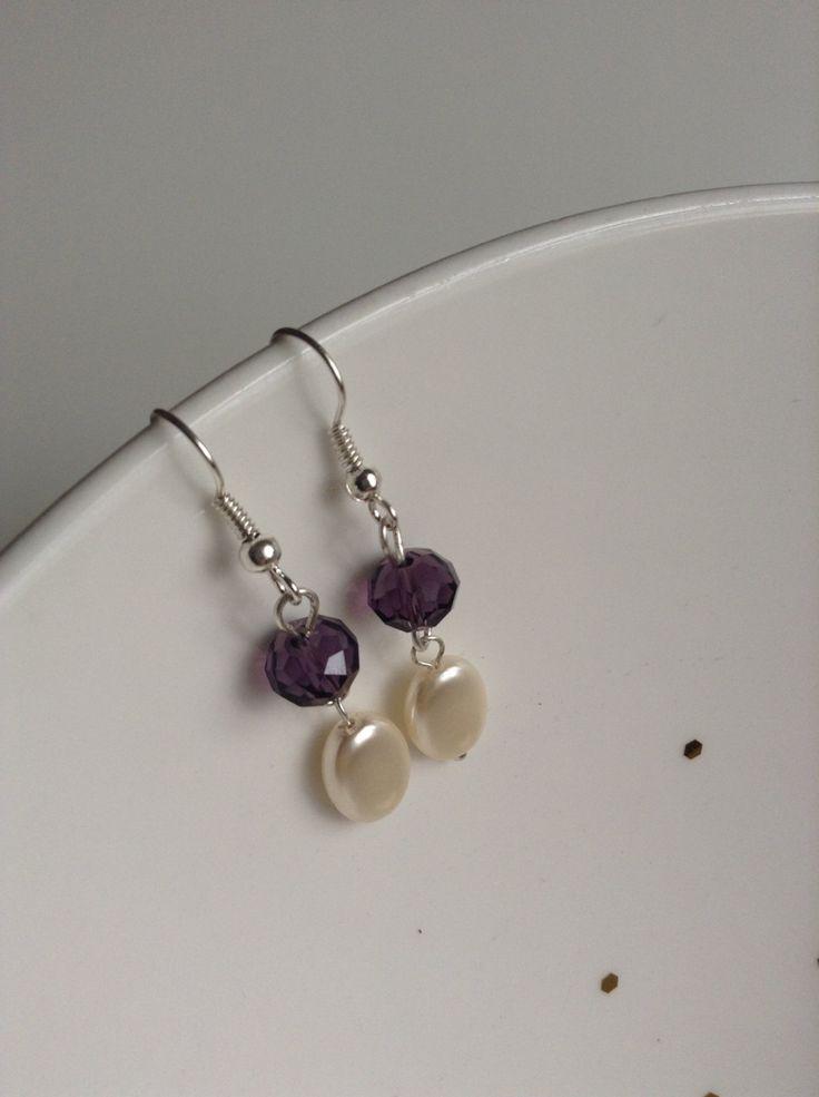 Elegant Purple and Beige beaded dangle & drop earrings by ViewofBeauty on Etsy
