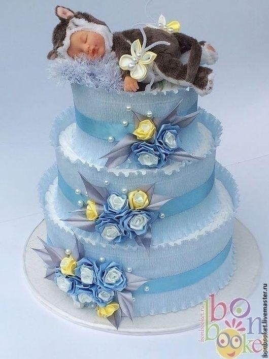 торт из памперсов с котенком, торт из памперсов для мальчика, торт из памперсов голубой