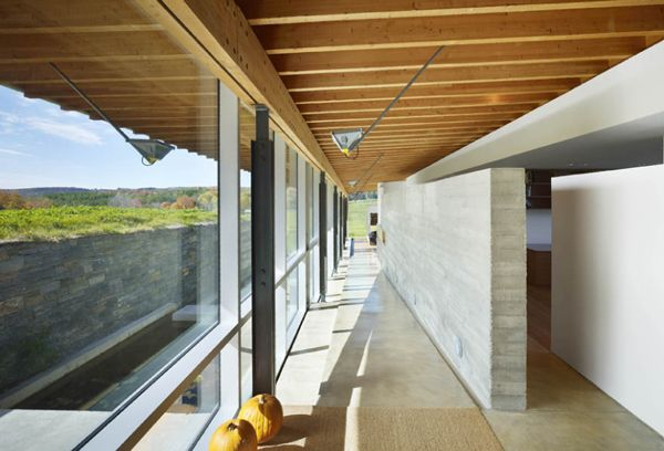Glulam beams, poured concrete wall for interior walls